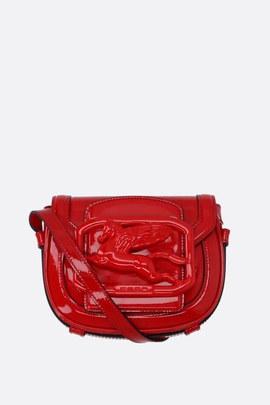 ETRO: Pegaso patent leather crossbody bag Color Red_1