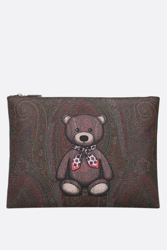 ETRO: Toy print Paisley coated canvas pouch Color Red_1
