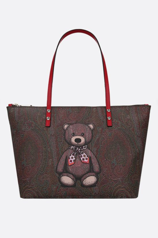 ETRO: Toy print Paisley coated canvas shopping bag Color Red_1