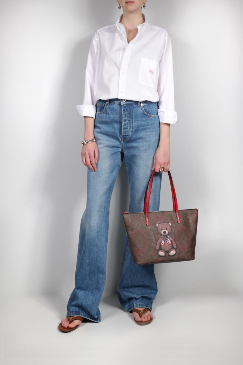 ETRO: Toy print Paisley coated canvas shopping bag Color Red_2