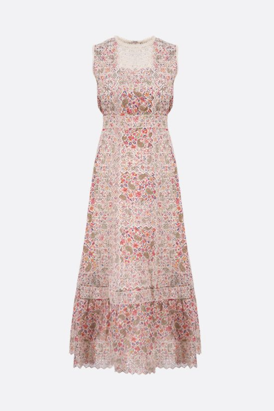 ETRO: paisley print embroidered cotton long dress Color Multicolor_1