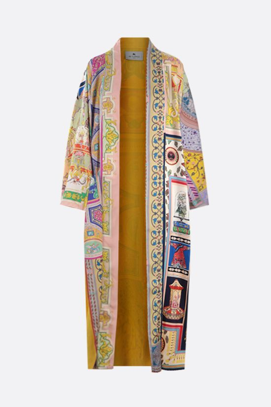 ETRO: silk kimono overcoat with ornamental print Color Multicolor_1