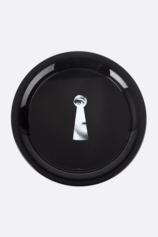 FORNASETTI: Serratura enameled metal tray Color Black