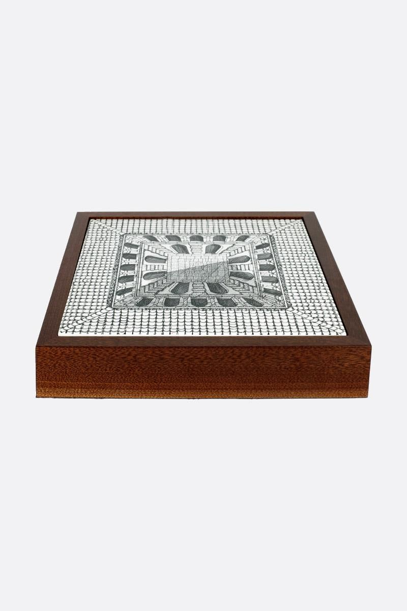 FORNASETTI: Cortile briarwood chessboard Color White_1