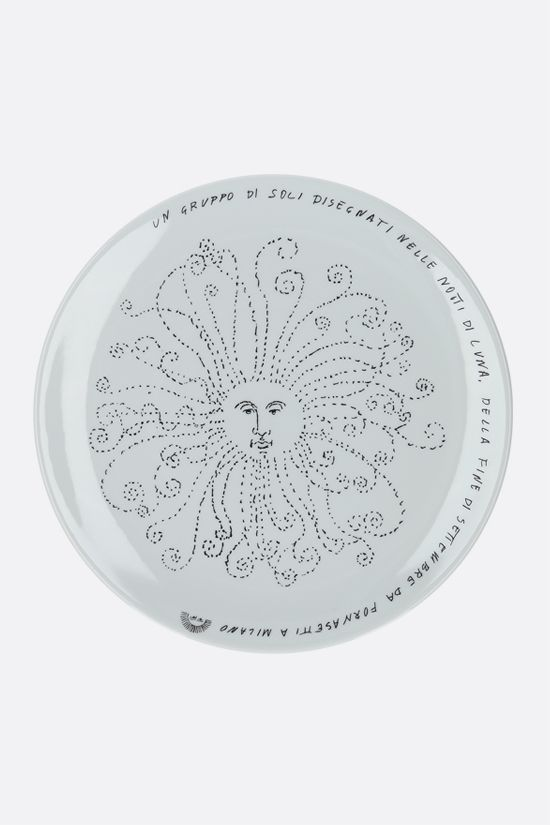 FORNASETTI: Solitario ceramic wall plate Color Grey_1