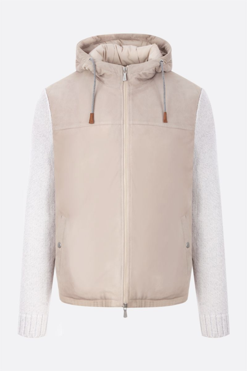 ELEVENTY: suede and knit padded jacket Color Neutral_1