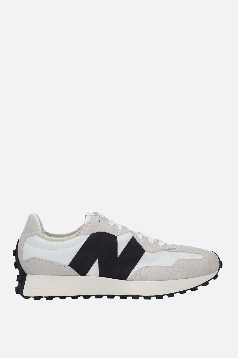 NEW BALANCE: 327 nylon and suede sneakers Color White_1