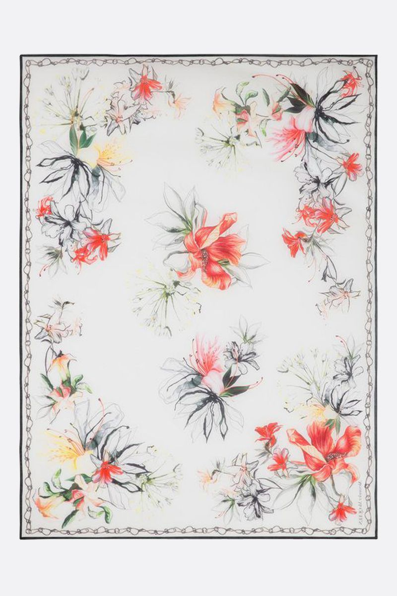 ALEXANDER McQUEEN: Endangered Flower print cotton silk blend pareo Color Multicolor_2