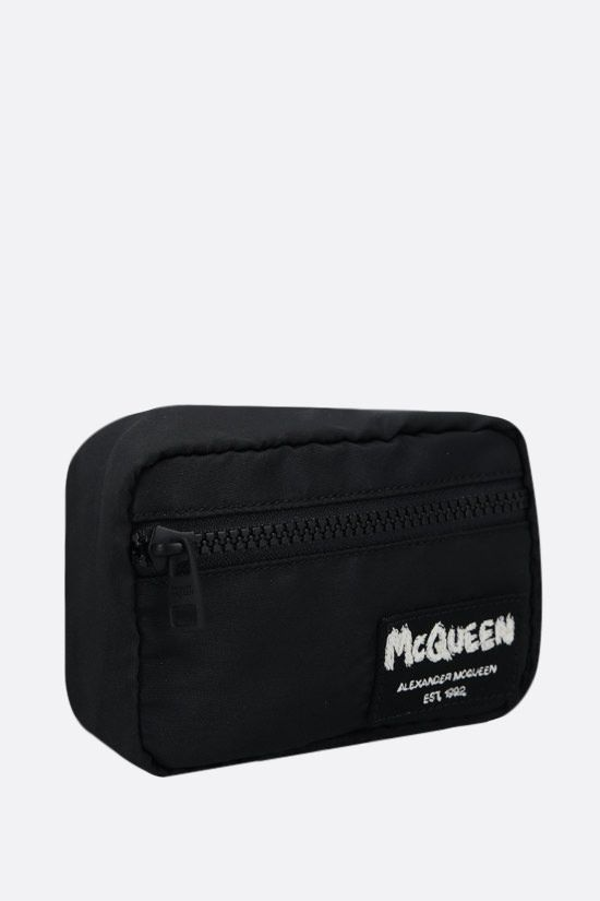 ALEXANDER McQUEEN: McQueen Tag nylon mini pouch Color Black_2