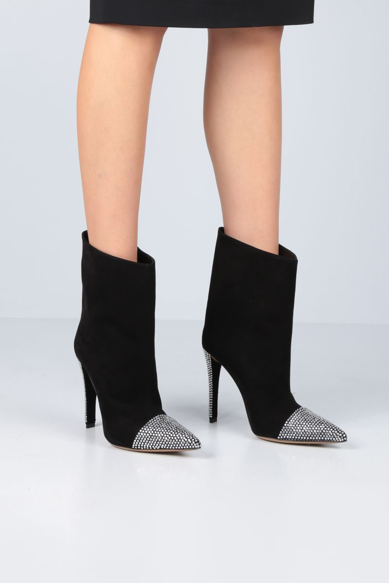 ALEXANDRE VAUTHIER: Christie ankle boots in crystal-embellished suede Color Black_2