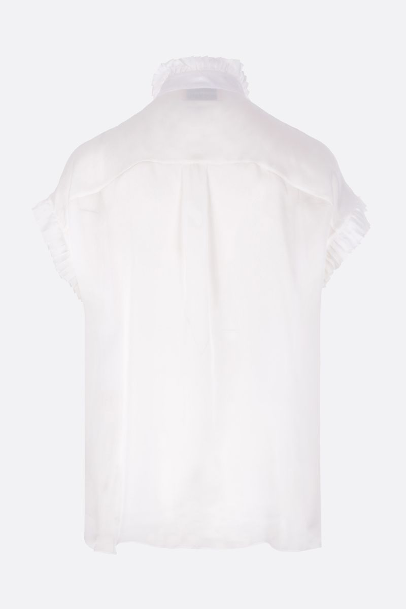 ALEXANDRE VAUTHIER: silk chiffon shirt with pleated ruches Color White_2
