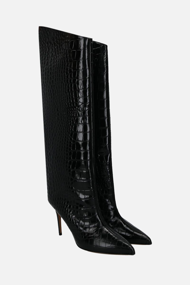ALEXANDRE VAUTHIER: Alex crocodile embossed leather boots Color Black_2