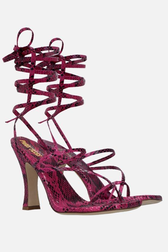 PARIS TEXAS: Mirta python-embossed leather lace-up sandals Color Purple_2