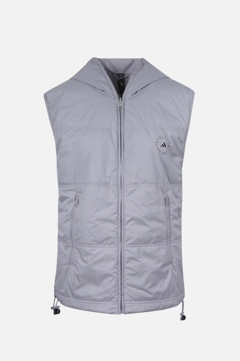 ADIDAS BY STELLA McCARTNEY: logo print nylon padded jacket Color Silver_2