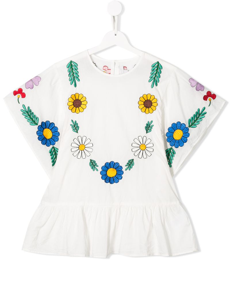 STELLA McCARTNEY KIDS: floral embroidered cotton blouse Color Grey_1