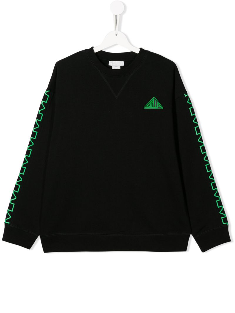 STELLA McCARTNEY KIDS: Sup! print cotton oversize sweatshirt Color Black_1