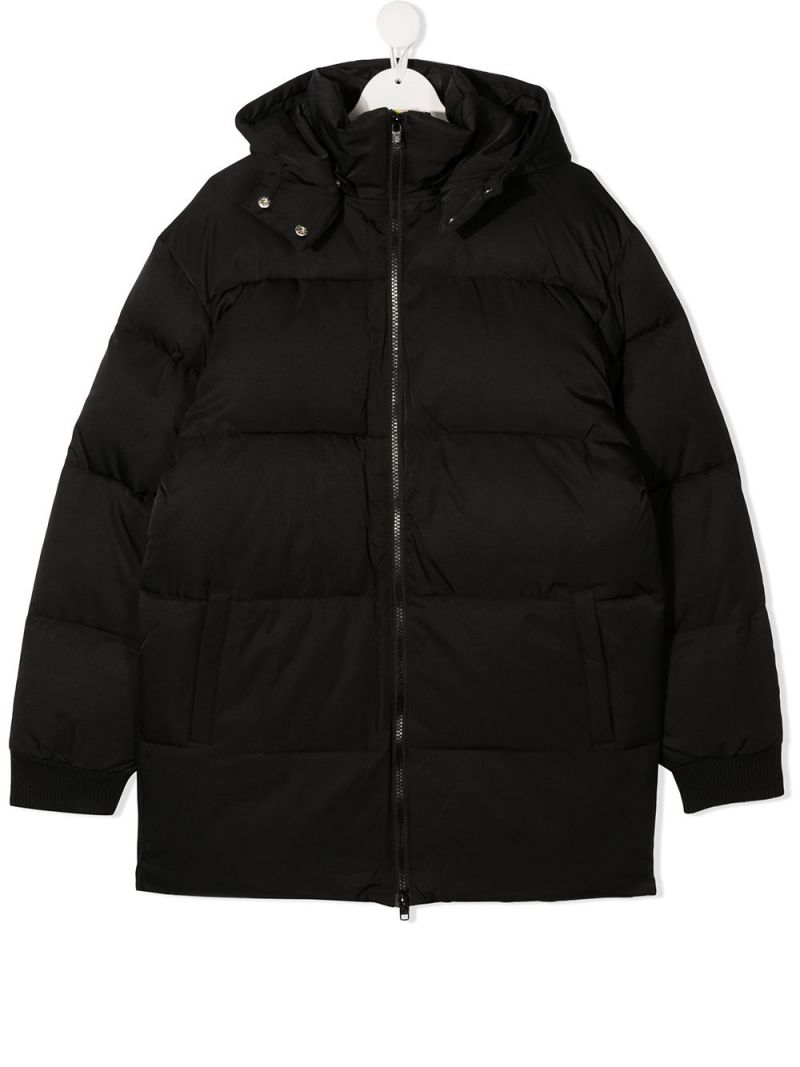 STELLA McCARTNEY KIDS: logoed band-detailed nylon padded jacket Color Black_1