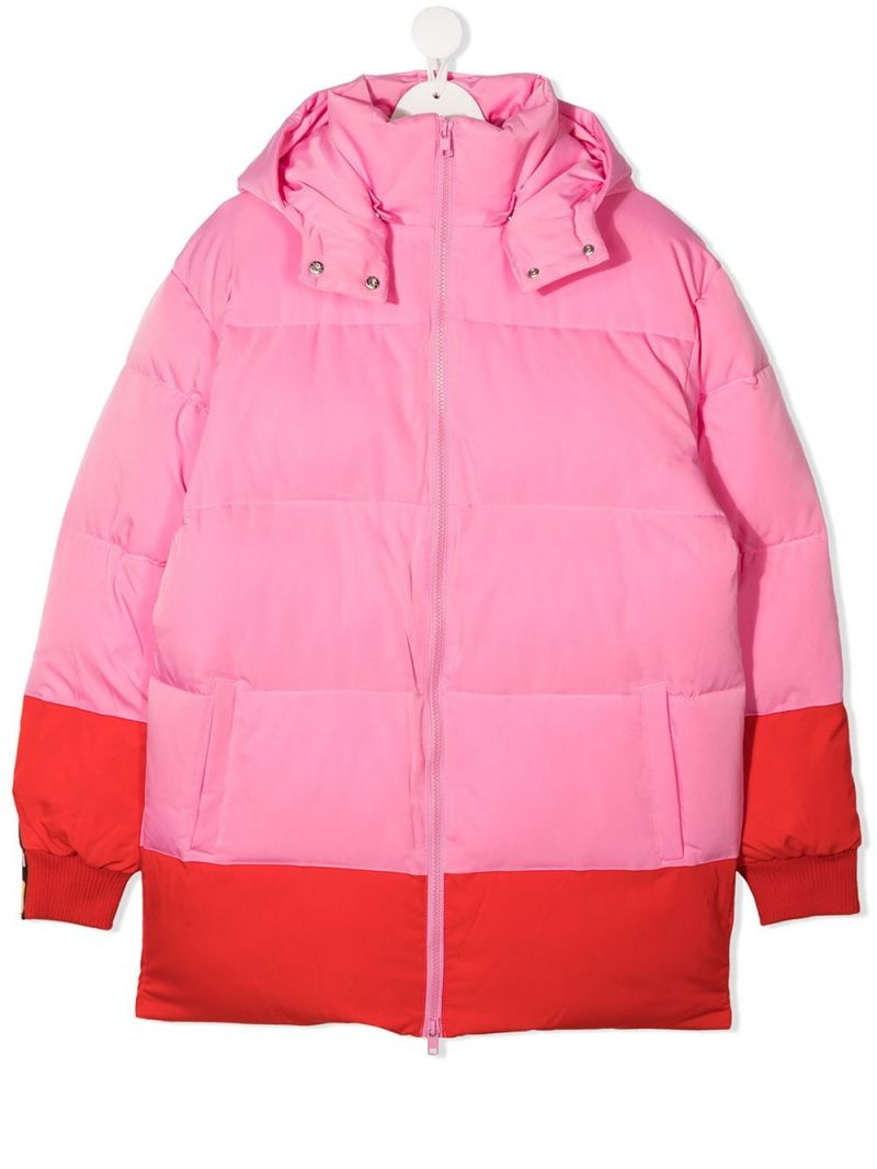 STELLA McCARTNEY KIDS: logoed band-detailed nylon padded jacket Color Pink_1