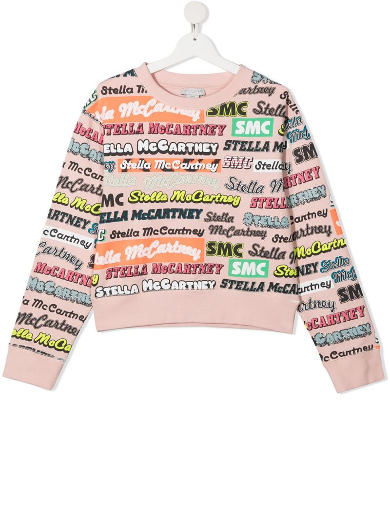 STELLA McCARTNEY KIDS: multi logo-print sustainable cotton sweatshirt Color Pink_1