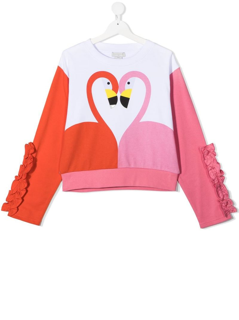 STELLA McCARTNEY KIDS: flamingo print cotton sweatshirt Color White_1