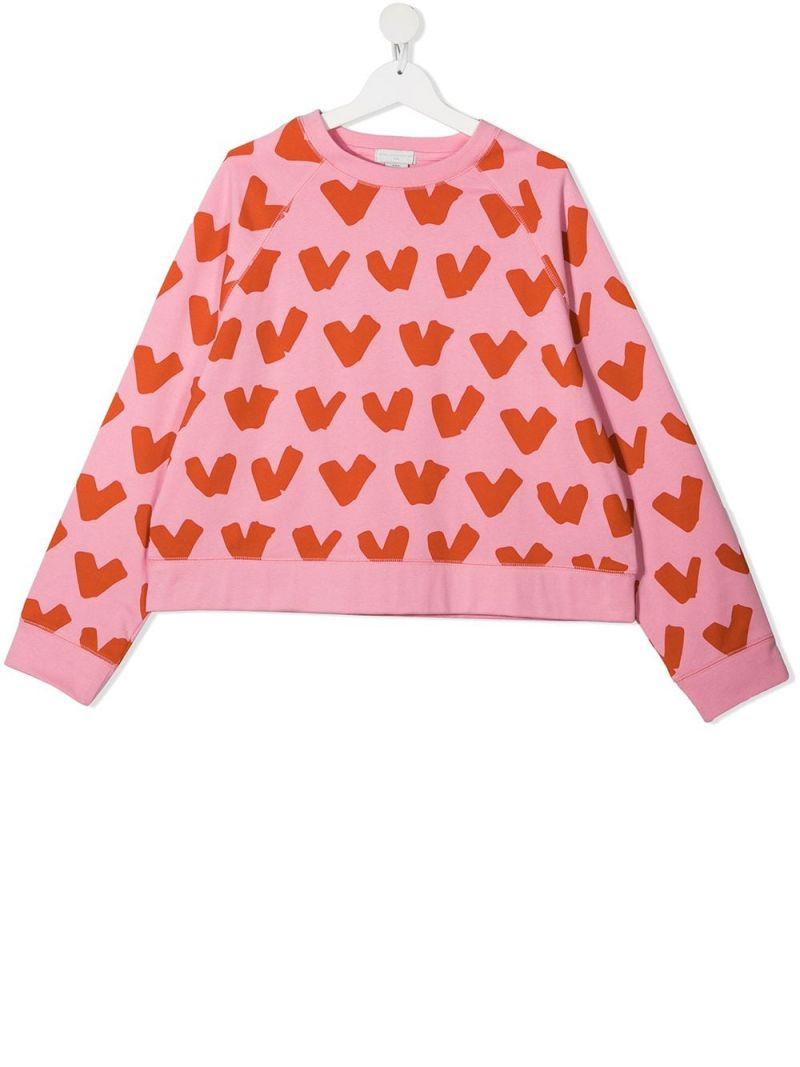 STELLA McCARTNEY KIDS: heart print organic cotton sweatshirt Color Pink_1