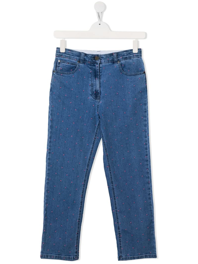 STELLA McCARTNEY KIDS: jeans con ricamo pois Colore Blu_1