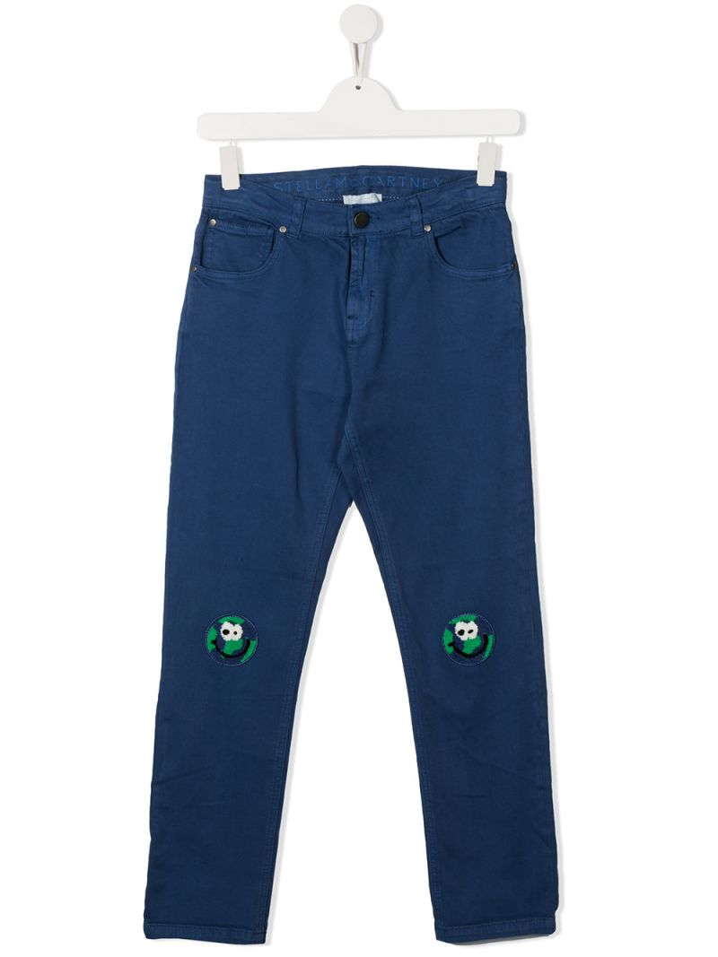 STELLA McCARTNEY KIDS: jeans con patch Earth Colore Blu_1