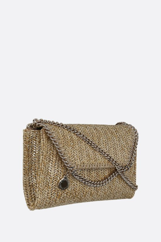 STELLA McCARTNEY: Falabella micro shoulder bag in woven fabric Color Gold_2