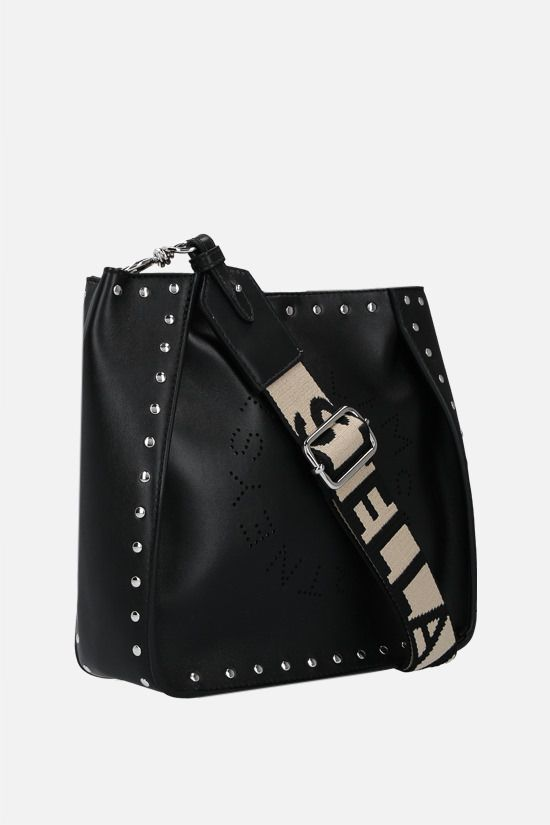 STELLA McCARTNEY: Stella Logo shoulder bag in studded Alter Nappa Color Black_2