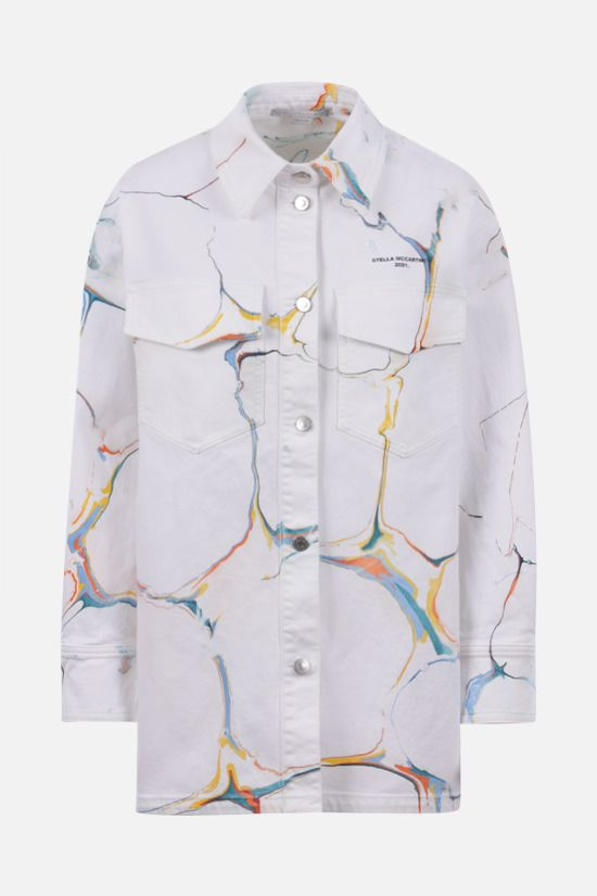 STELLA McCARTNEY: oversize denim overshirt Color White_1