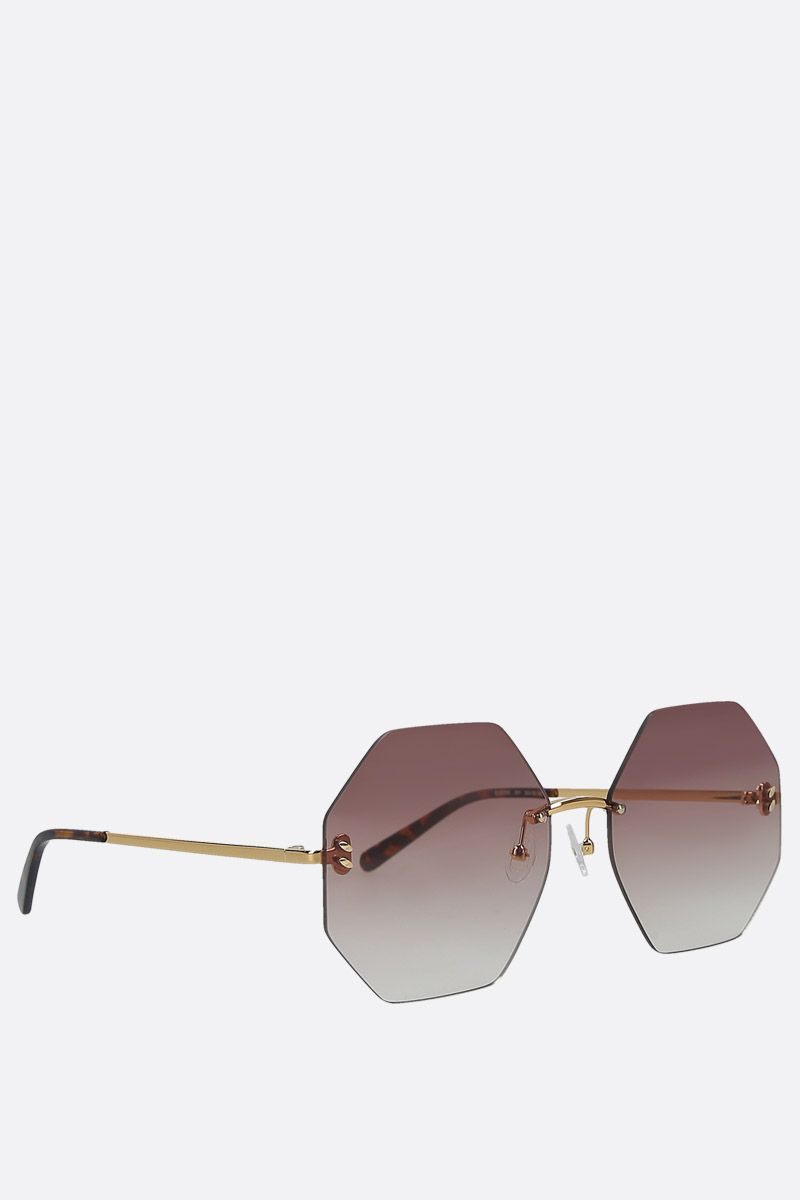 STELLA McCARTNEY: hexagonal-shape metal sunglasses Color Gold_2