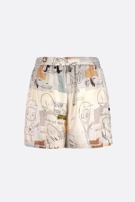STELLA McCARTNEY: Yoshitomo Nara print silk shorts Color Multicolor_2