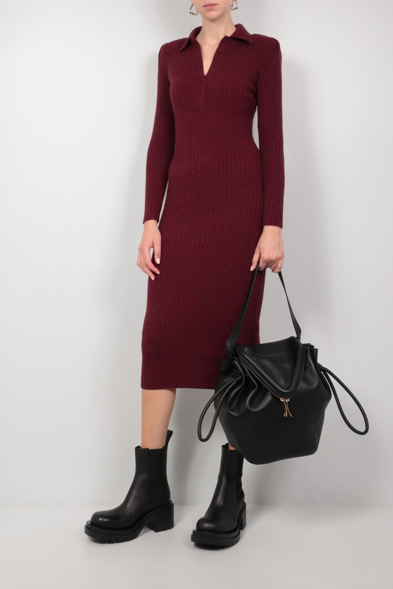 SELF PORTRAIT: ribbed cashmere wool blend midi dress Color Red_2