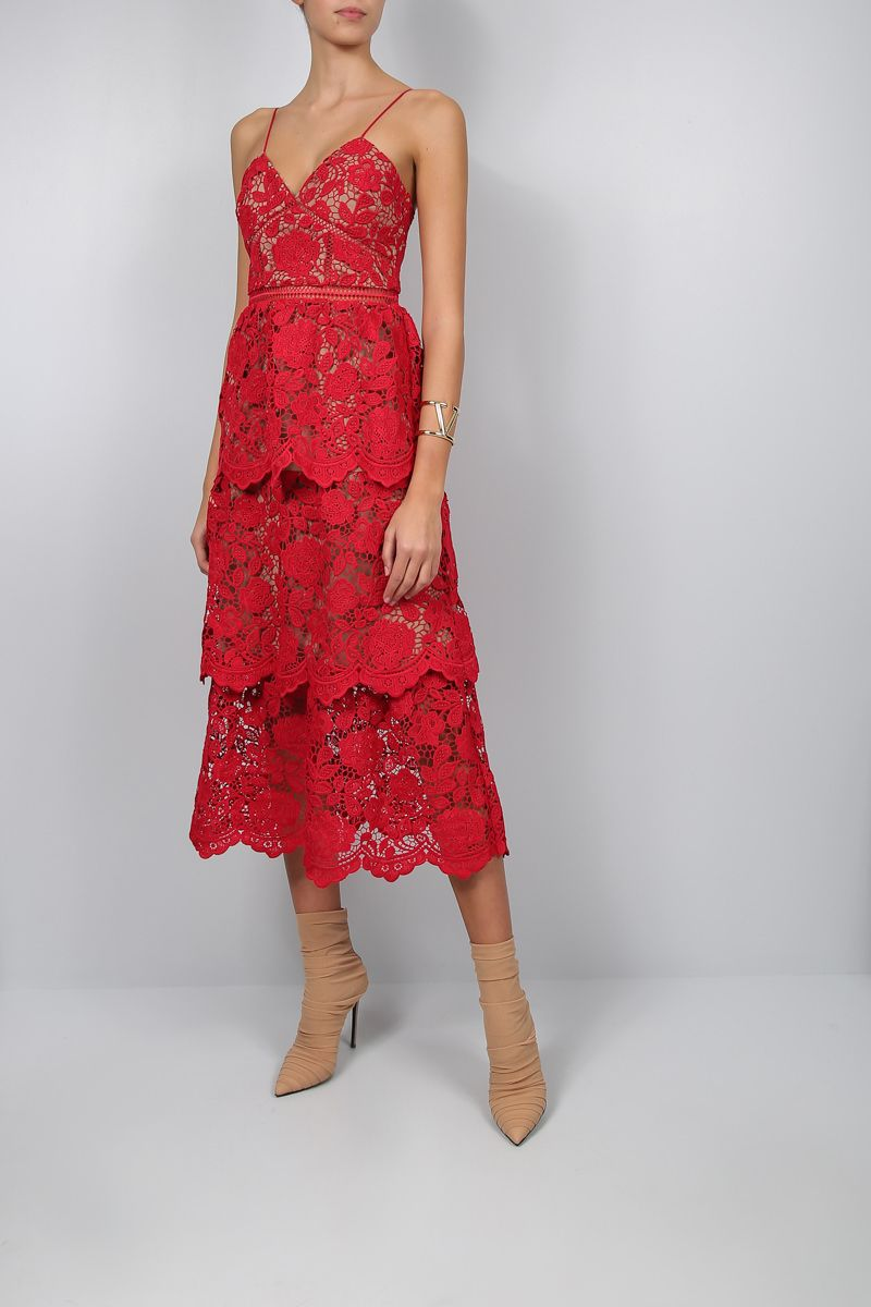 SELF PORTRAIT: floral lace flounced dress Color Red_2