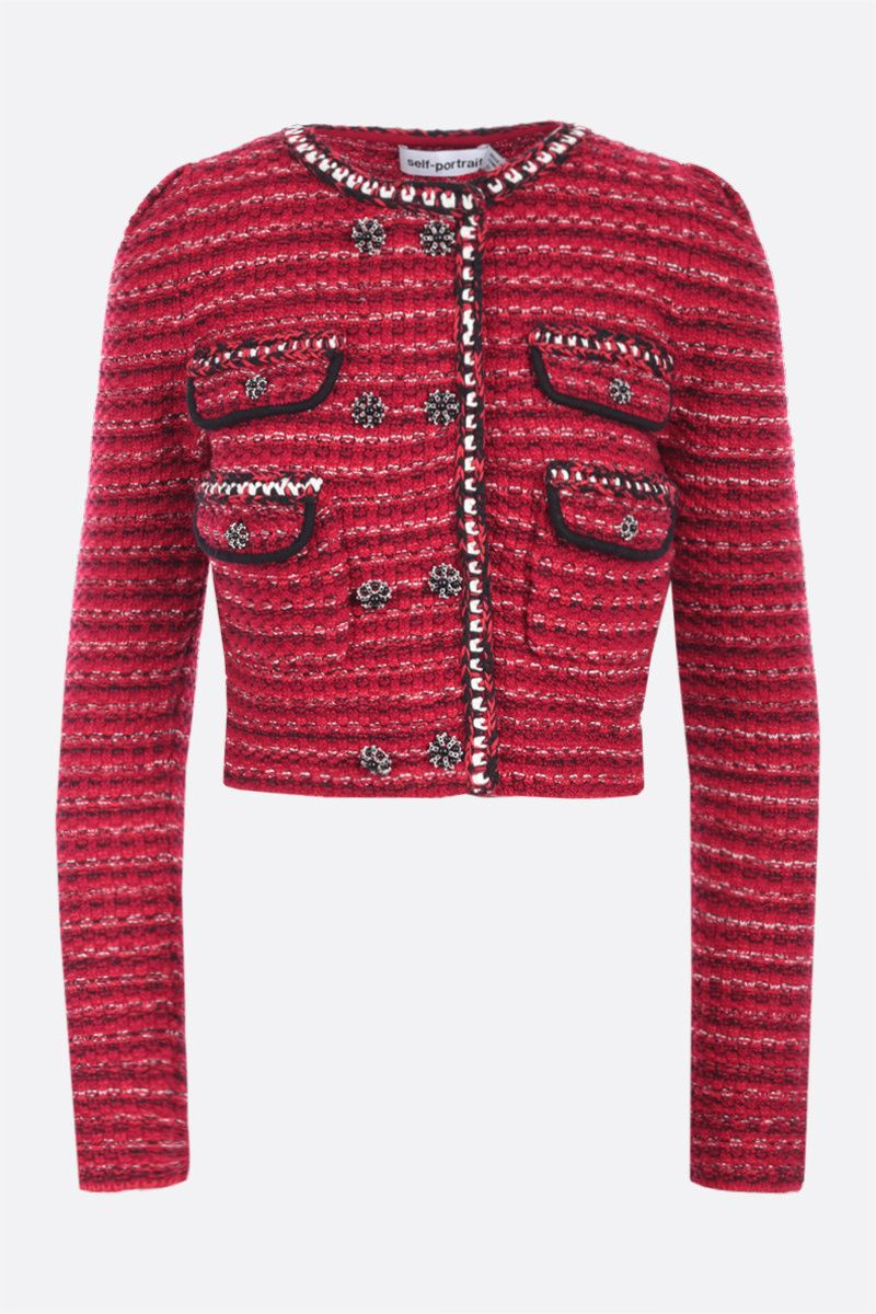 SELF PORTRAIT: cotton wool blend cropped cardigan Color Red_1