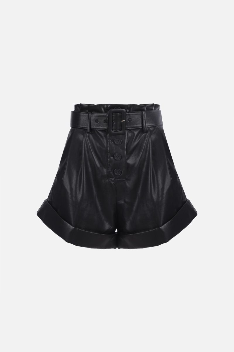 SELF PORTRAIT: belt-detailed faux leather shorts Color Black_1
