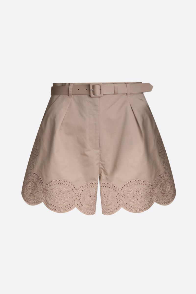 SELF PORTRAIT: embroidered canvas shorts Color Neutral_1