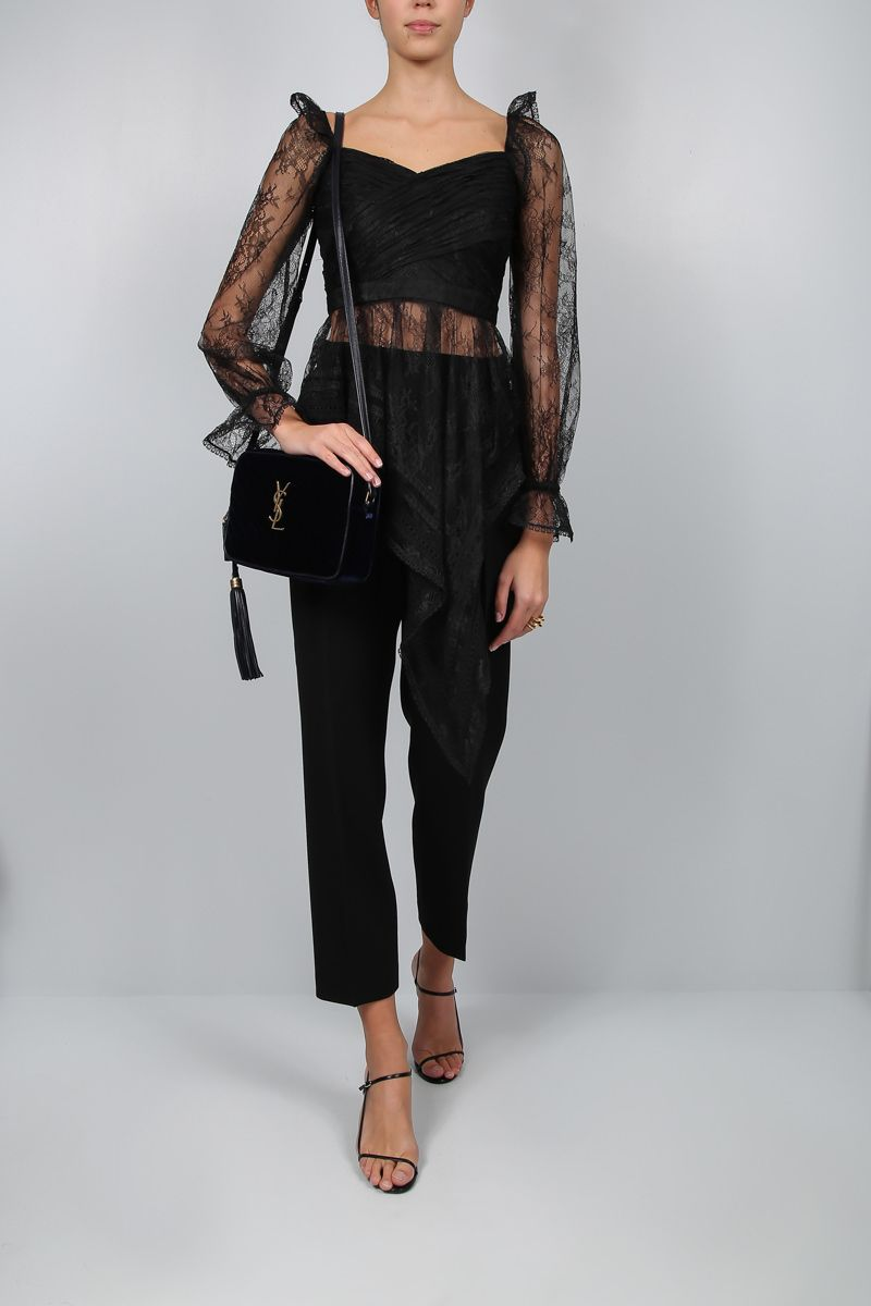 SELF PORTRAIT: fine lace asymmetric top Color Black_2