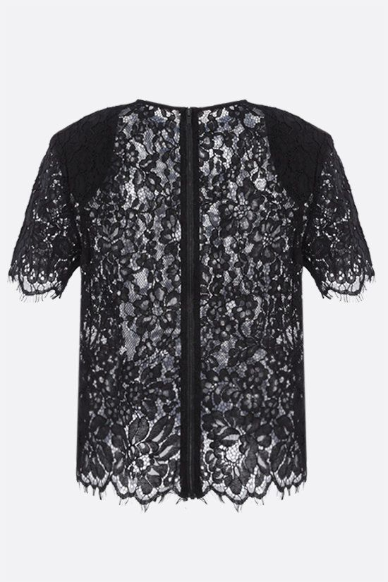 SELF PORTRAIT: cord lace short-sleeved top Color Black_2