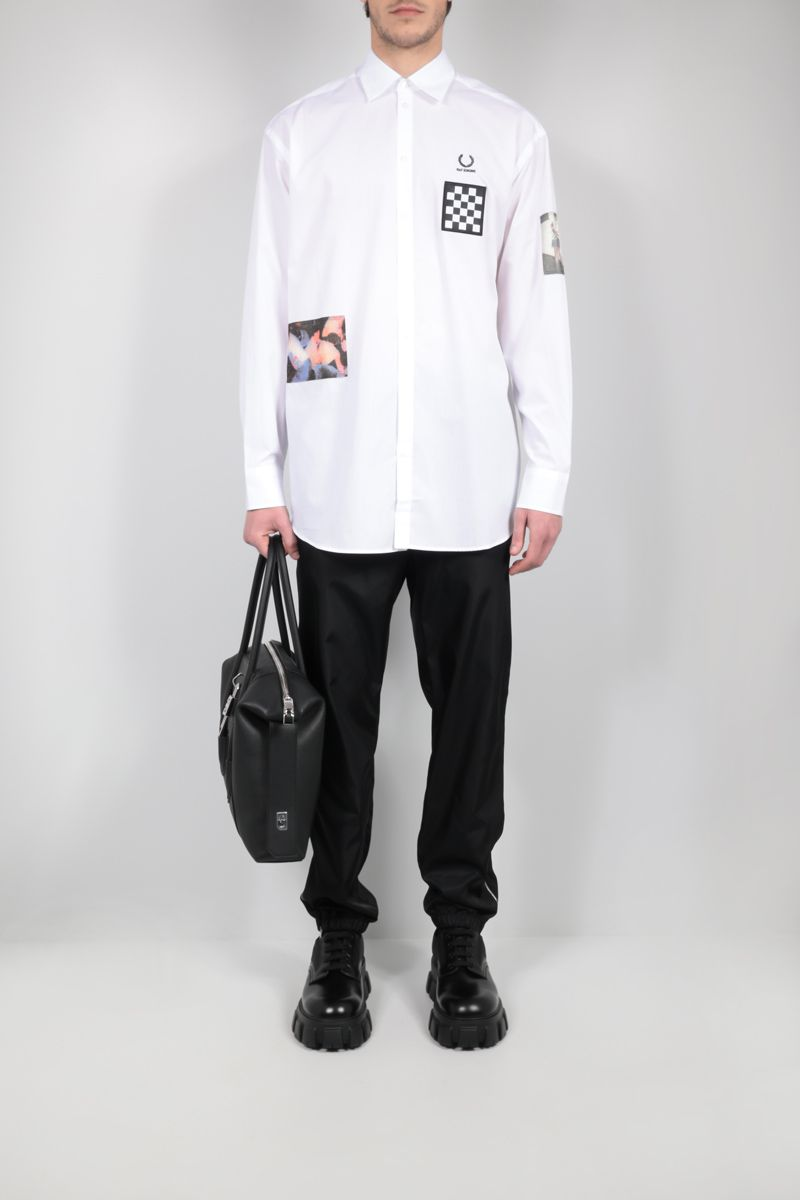 FRED PERRY X RAF SIMONS: patch-detailed oversize poplin shirt Color White_2