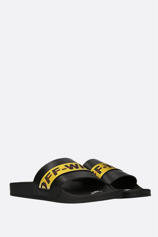 OFF WHITE: Industrial Belt smooth leather slide sandals Color Yellow_2
