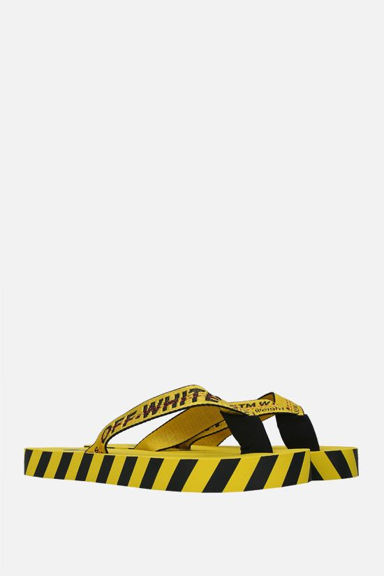 OFF WHITE: Industrial Belt nylon thong sandals Color Yellow_2