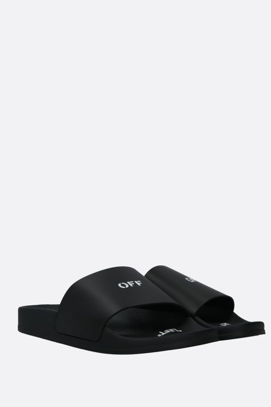 OFF WHITE: sandalo slide in ecopelle stampa OFF Colore Nero_2
