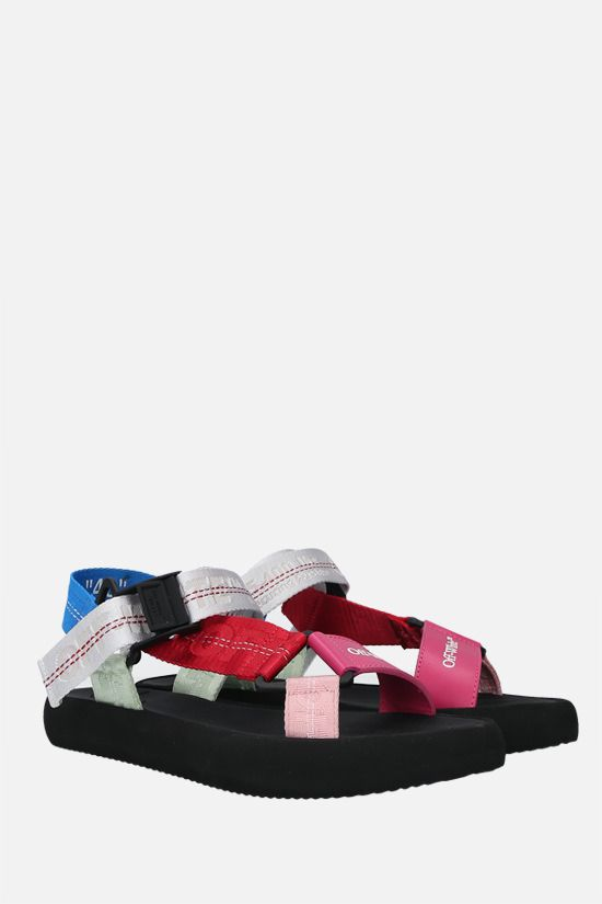 OFF WHITE: Trek smooth leather and fabric flat sandals Color Multicolor_2