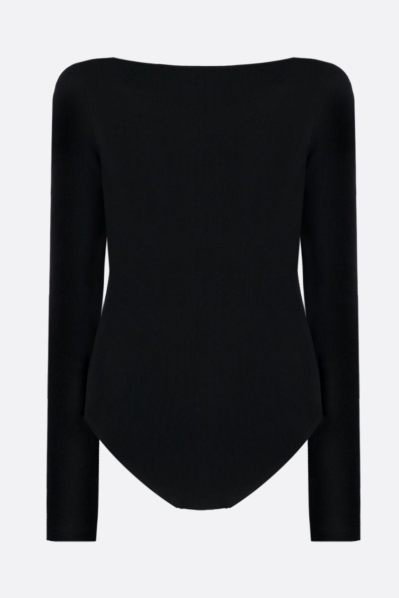 OFF WHITE: OFF print stretch cotton long-sleeved bodysuit Color Black_2