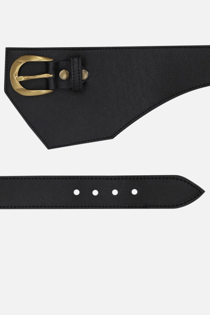 FEDERICA TOSI: smooth leather waist belt Color Black_2