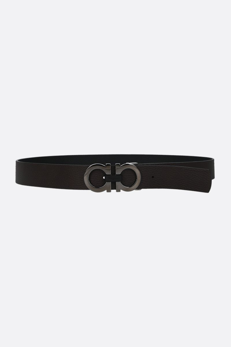 SALVATORE FERRAGAMO: Gancini grainy leather reversible belt_2
