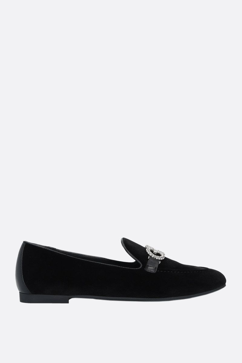 SALVATORE FERRAGAMO: Trifoglio velvet loafers Color Black_1