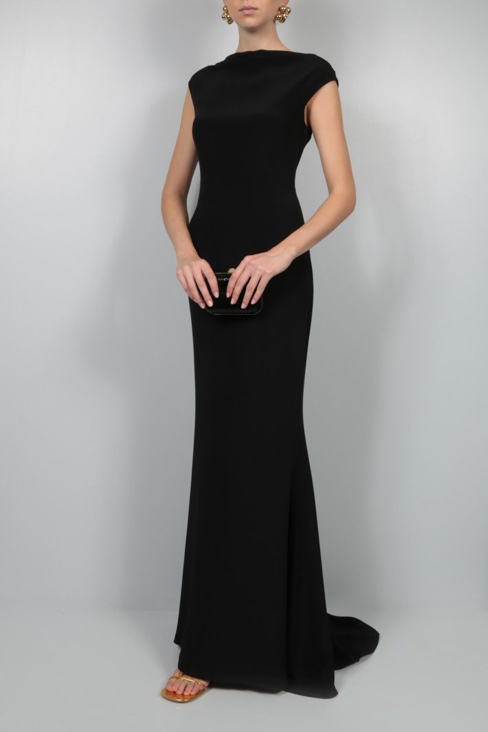 GIANFRANCO FERRE: sleeveless silk crepe gown Color Black_2