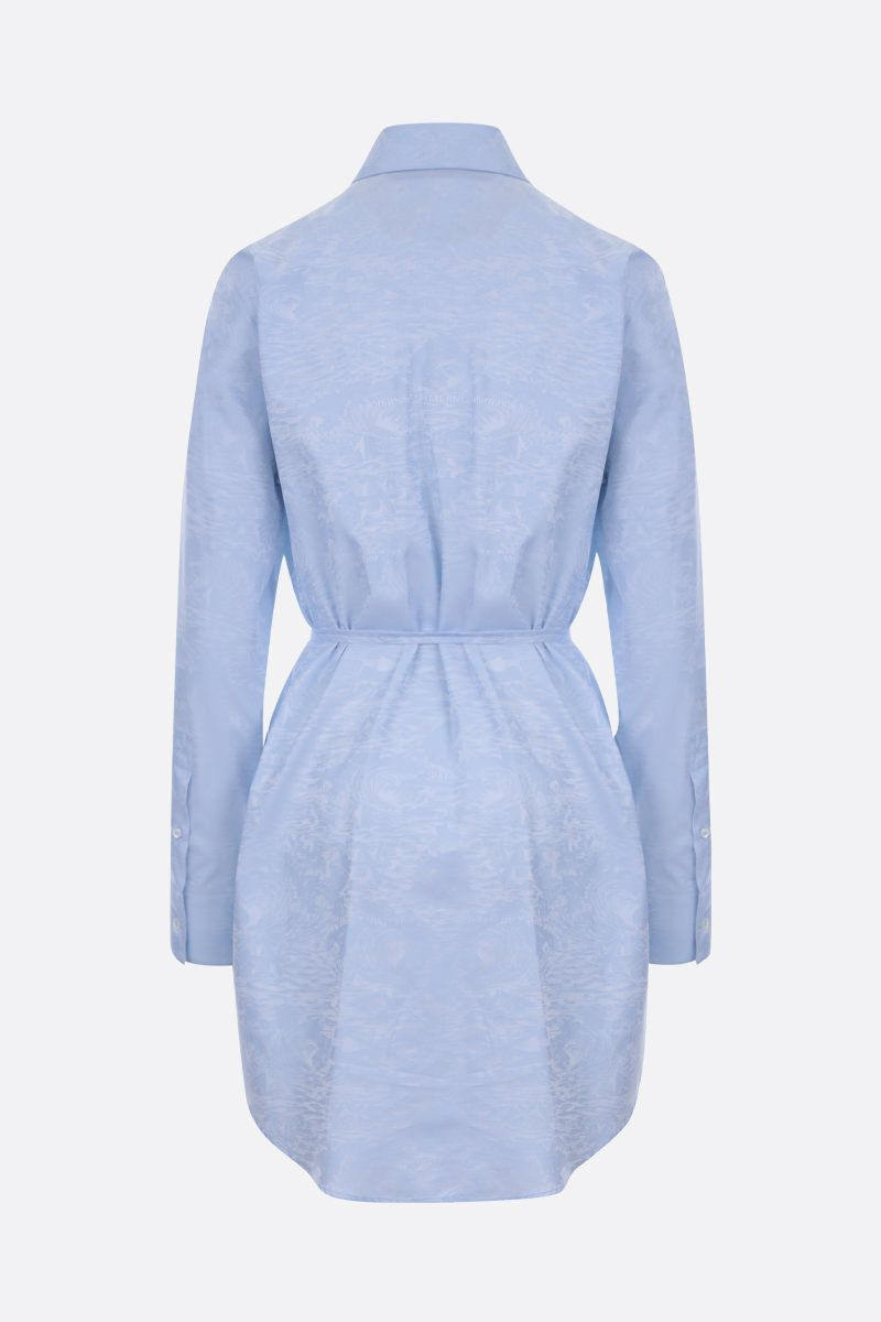 OFF WHITE: jacquard cotton shirt dress Color Blue_2
